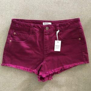 NWT Forever 21 Maroon Denim Shorts